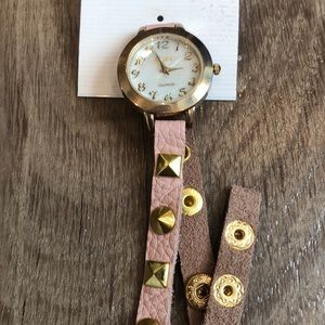 NWT Blush Leather Wrap Watch